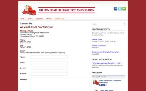 Screenshot of Contact Page hhfirefighters.org - Contact Us | Hilton Head Firefighters Association - captured Oct. 2, 2014