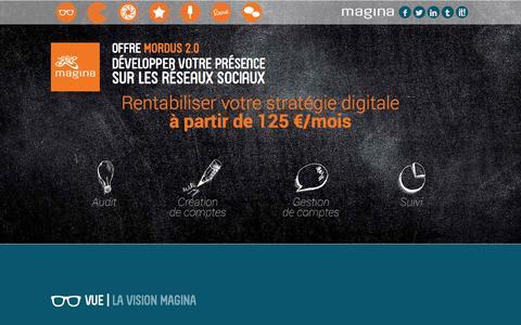 Screenshot of Home Page magina.fr - Agence Magina | Mordus de com' by Magina - captured Oct. 1, 2014