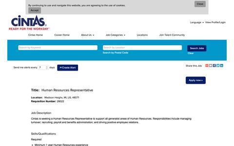 Screenshot of Jobs Page cintas.com - Human Resources Representative - captured Oct. 26, 2018