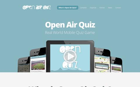 Screenshot of Home Page openairquiz.com - Open Air Quiz | Real World Mobile Quiz Game - captured Sept. 30, 2014