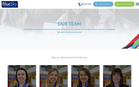 Screenshot of Team Page blueskybs.com - Meet the BlueSky Customer Service Team - Serviced Office Space - captured Oct. 6, 2018