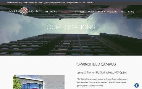 Screenshot of Locations Page northpointchurch.tv - Church Locations - Southwest MO | North Point Church - captured June 14, 2017