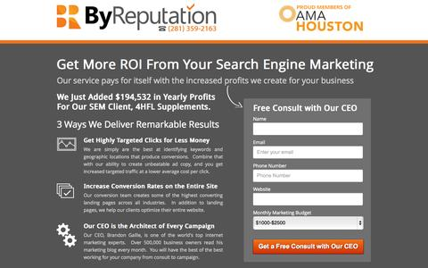 Screenshot of Landing Page byreputationppc.com - Search Engine Marketing Services - captured Oct. 27, 2014