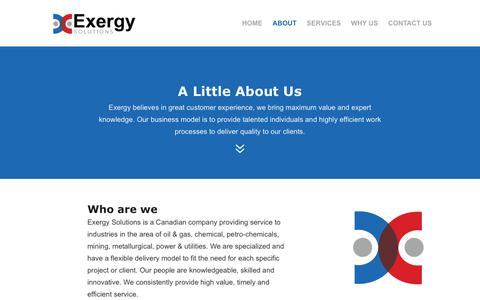 Screenshot of About Page exergysolutions.com - Drafting and Design Solutions Calgary, Alberta. | Exergy Solutions - captured July 21, 2018