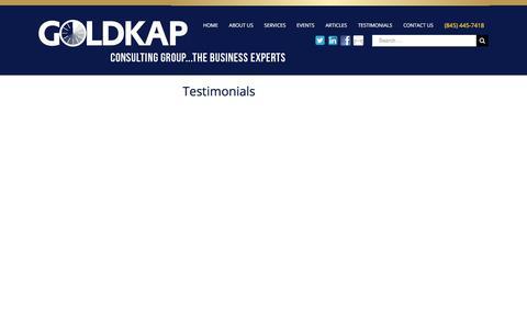 Screenshot of Testimonials Page goldkapconsulting.com - TESTIMONIALS – Goldkap Consulting - captured Aug. 28, 2017