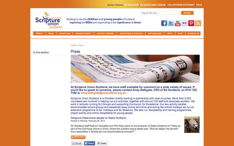 Screenshot of Press Page suscotland.org.uk - SU Scotland - Press - captured Oct. 6, 2014