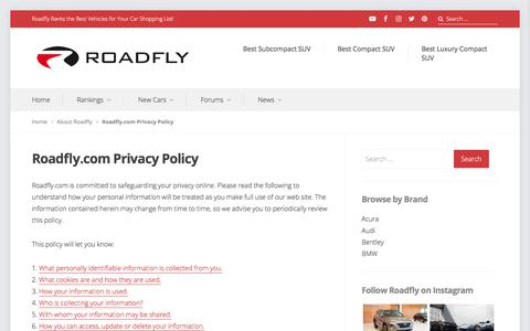 Screenshot of Privacy Page roadfly.com - Roadfly.com Privacy Policy - captured Sept. 21, 2018