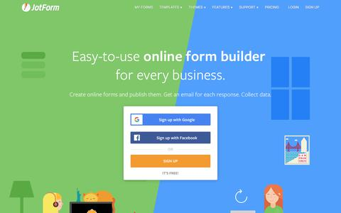 Screenshot of Home Page jotform.com - Online Form Builder & Form Creator | JotForm - captured July 11, 2019