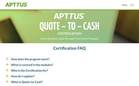 Certification FAQ   Quote to Cash Certification - Apttus