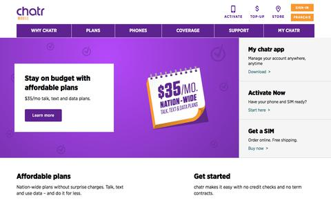 Screenshot of Home Page chatrwireless.com - Great Phones & Plans with Unlimited Talk | chatr mobile - captured Feb. 8, 2020