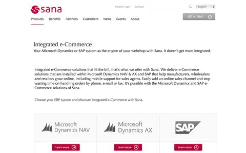 Screenshot of Products Page sana-commerce.com - e-Commerce for Microsoft Dynamics and SAP | Sana Commerce - captured Sept. 23, 2014