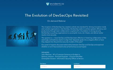 Screenshot of Landing Page evident.io - Evolution of SecDevOps Revisited - On-demand Webinar - captured March 31, 2018