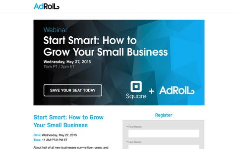 Screenshot of Landing Page adroll.com - Start Smart: How to Grow Your Small Business - captured Oct. 30, 2016