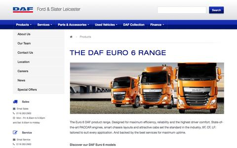 Screenshot of Products Page fordandslater.co.uk - Products | DAF Trucks | Ford & Slater Leicester - captured Feb. 10, 2016