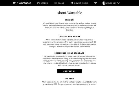 Screenshot of About Page wantable.com - Wantable | About Us - captured Feb. 18, 2018