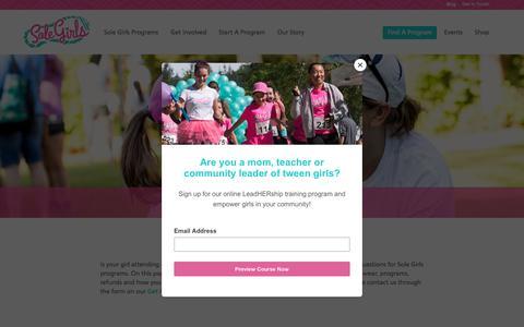 Screenshot of FAQ Page solegirls.org - Parent Info and FAQS   Sole Girls - captured Sept. 21, 2018