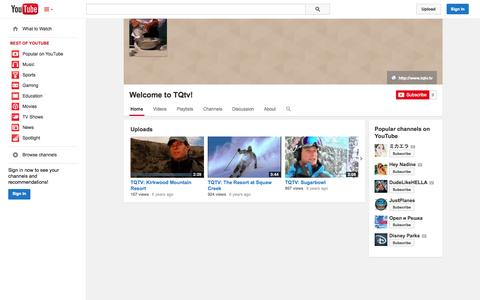 Screenshot of YouTube Page youtube.com - Welcome to TQtv!  - YouTube - captured Nov. 5, 2014