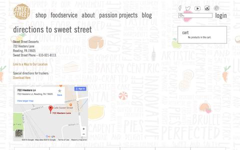 Screenshot of Maps & Directions Page sweetstreet.com - Directions to Sweet Street l Sweet Street Desserts - captured Dec. 6, 2016