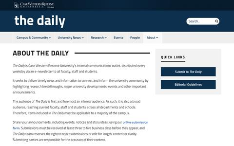Screenshot of About Page case.edu - About The Daily | Case Western Reserve University The Daily - captured Oct. 21, 2018