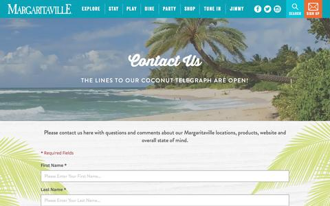 Screenshot of Contact Page margaritaville.com - Margaritaville | Contact Us - captured Jan. 26, 2017