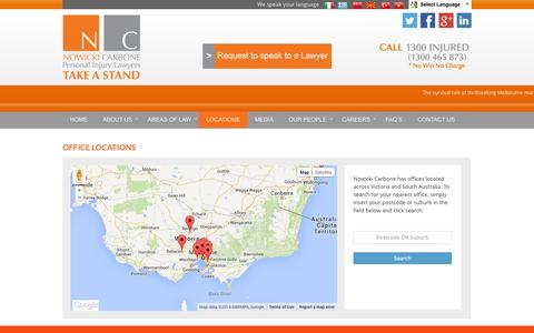 Screenshot of Locations Page nowickicarbone.com.au - Office Locations | Nowicki Carbone - captured Sept. 30, 2014