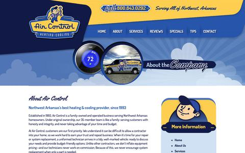 Screenshot of About Page aircontrolcorp.com - About Air Control | Heating & Cooling | Northwest Arkansas - captured Nov. 12, 2018