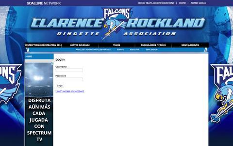 Screenshot of Login Page goalline.ca - Clarence-Rockland Ringette Association powered by GOALLINE.ca - captured June 14, 2016