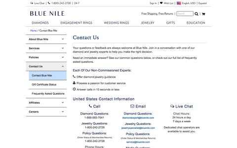 Screenshot of Contact Page bluenile.com - Contact Blue Nile | Blue Nile - captured Sept. 26, 2019