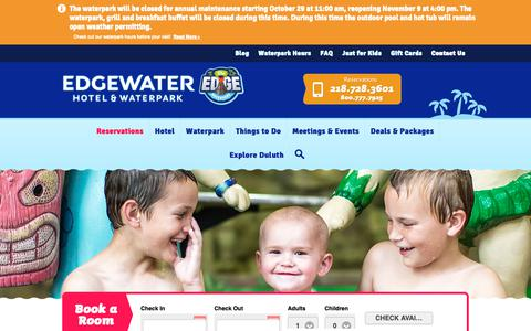Screenshot of Contact Page duluthwaterpark.com - Contact the Waterpark Hotel in Duluth, MN | Edgewater - captured Nov. 10, 2018