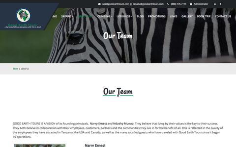 Screenshot of Team Page goodearthtours.com - Good Earth Tours :: Africa Safari| Tanzania Safari| Zanzibar Beach | Mountain Kilimanjaro | Kenya Safari | Uganda Safari - captured July 20, 2018