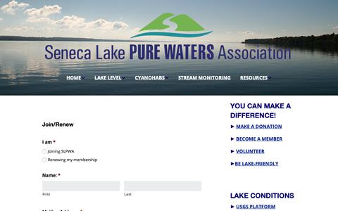 Screenshot of Signup Page senecalake.org - Form: Membership - - captured Dec. 20, 2018