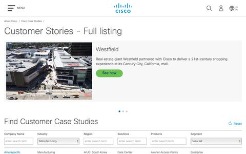 Screenshot of Case Studies Page cisco.com - Case Studies and Customer Success Stories - Full Listing - Cisco - captured May 10, 2019