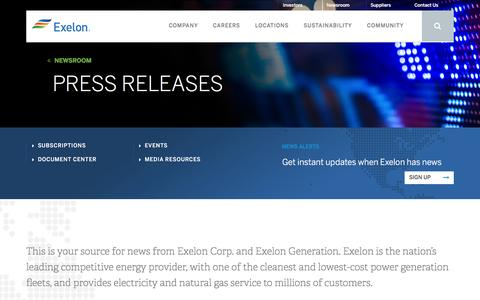 Screenshot of Press Page exeloncorp.com - Search press releases - Newsroom - Exelon - captured Aug. 3, 2016
