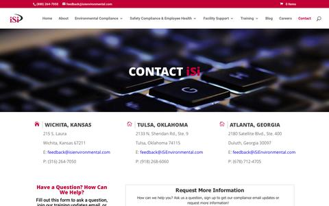 Screenshot of Contact Page isienvironmental.com - iSi Environmental Contact Information for Corporate and Branch Offices - captured Oct. 16, 2017