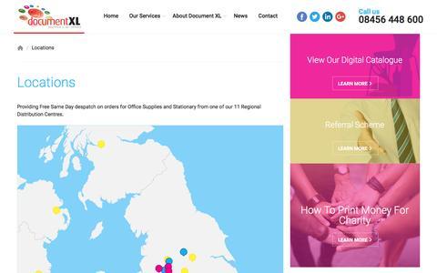 Screenshot of Locations Page documentxl.com - Locations | Document XL - captured Nov. 24, 2016