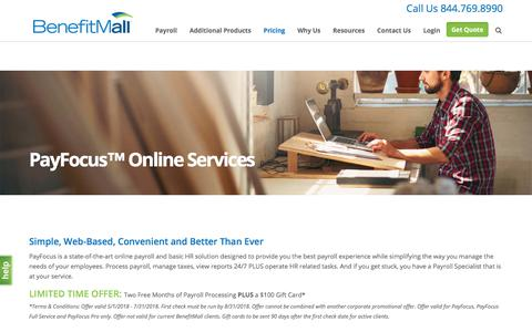 Screenshot of Pricing Page benefitmall.com - PayFocus™ Online Services | BenefitMall - captured July 17, 2018