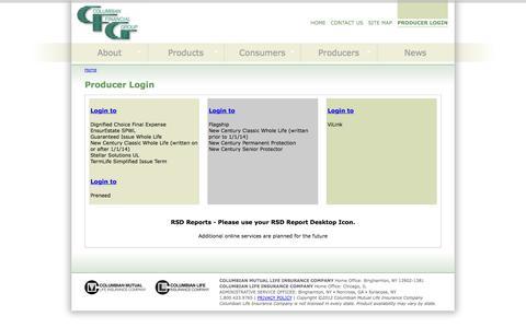 Screenshot of Login Page cfglife.com - Producer Login   Columbian Financial Group - captured Oct. 8, 2014