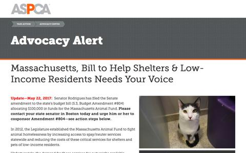Screenshot of Landing Page aspca.org - Advocacy Alert | ASPCA - captured June 1, 2017