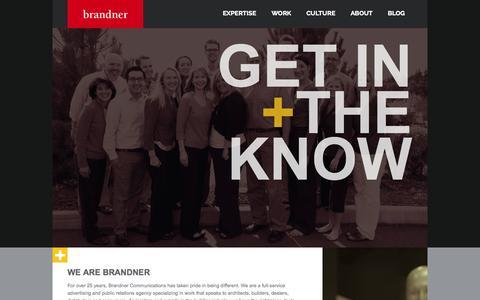 Screenshot of About Page brandner.com - About Brandner Communications - captured Oct. 5, 2014