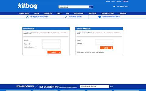Screenshot of Login Page kitbag.com - KITBAG - captured Dec. 23, 2016