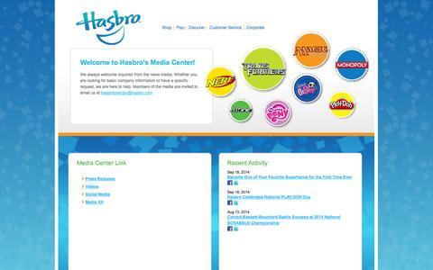 Screenshot of Press Page hasbro.com - Hasbro Media Center - captured Sept. 18, 2014