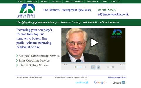 Screenshot of Home Page Services Page Menu Page andrewdocker.co.uk - Increase Profitable Sales with Andrew Docker Associates - captured Oct. 4, 2014