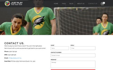 Screenshot of Contact Page justplay.com.au - Contact Us | Just Play - Choose a Sport. Find your team. - captured Jan. 9, 2016