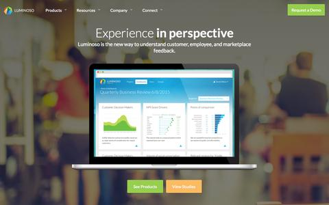 Screenshot of Home Page luminoso.com - Enterprise Feedback and Experience Analytics | Luminoso - captured Oct. 1, 2015