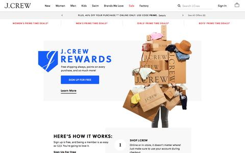 Screenshot of FAQ Page jcrew.com - Rewards | J.Crew - captured July 15, 2019