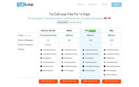 Screenshot of Pricing Page callloop.com - Pricing Plans   Call Loop - captured July 18, 2014