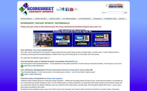 Screenshot of Testimonials Page scoresheet.com - Scoresheet Fantasy Baseball Testimonials | See why Scoresheet is the BEST fantasy baseball sim game anywhere! - captured Sept. 25, 2014
