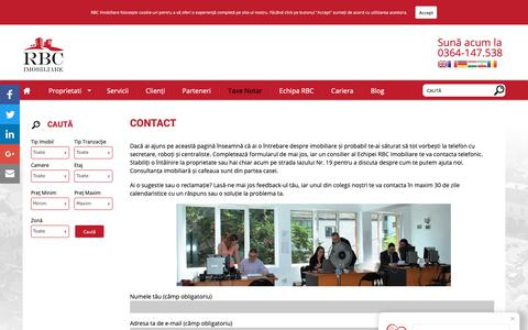 Screenshot of Contact Page rbcimobiliare.ro - Contact - RBC Imobiliare - captured Oct. 19, 2018