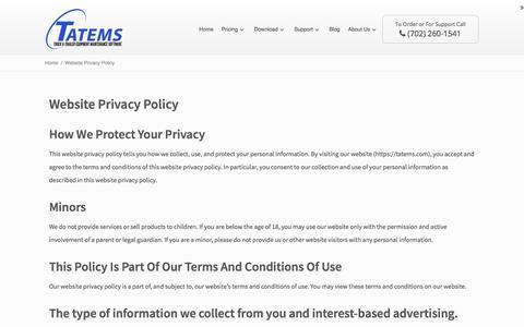 Screenshot of Privacy Page tatems.com - Website Privacy Policy - TATEMS Fleet Maintenance Software - captured Nov. 6, 2017
