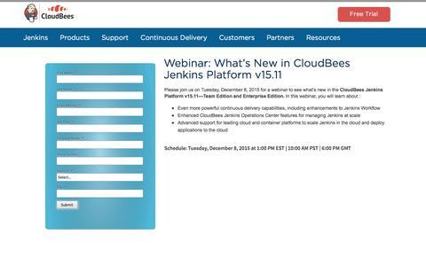 Screenshot of Landing Page cloudbees.com - Webinar: What's New in CloudBees Jenkins Platform v15.11 - captured Oct. 5, 2016
